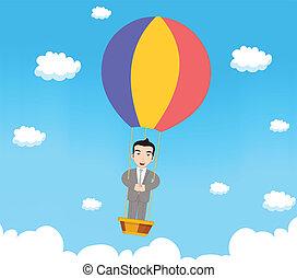 parachute, homme affaires