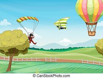 Parachute - Illustration of people doing parachute