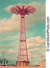 Vintage view of the Coney Island Parachute Jump in Brooklyn, New York.