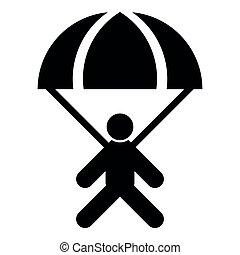 Parachute jumper icon black color illustration flat style simple image