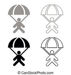 Parachute jumper icon set grey black color