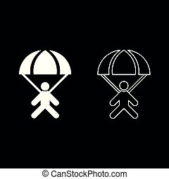 Parachute jumper icon set white color illustration flat style simple image
