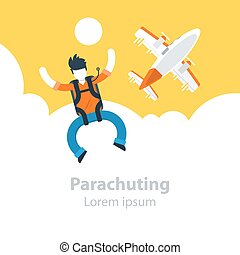Parachute jumping, man in sky