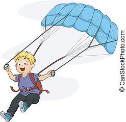 Parachute Kid - Illustration of a Little Boy Maneuvering His...
