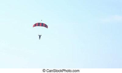 Parachute landed - Dubai Skydive area Dubai UAE 2 jan  2015