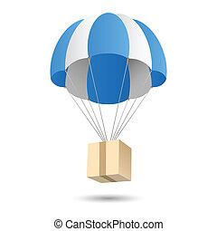 parachute, livraison, concept, emblème, cadeau