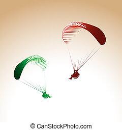 parachute, personne, paragliding, contrôlé, thème