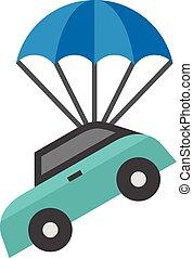 parachute, plat, icône, -, voiture