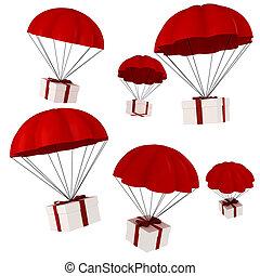 parachute, présente, tomber, ciel, 3d