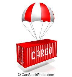 parachute, -, rendre, concept, livraison, 3d