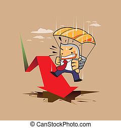 parachute, risque, homme, business