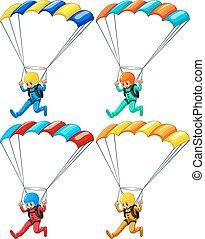 Parachute - Set of four parachutists flying down