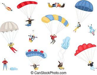 Parachute skydivers set