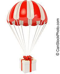 parachute - present go down in red parachute