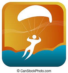 parachute, utilisation, humain, voile, air