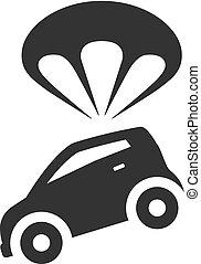 parachute, voiture, bw, -, icônes