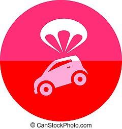 parachute, voiture, cercle, -, icône