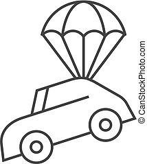 parachute, voiture, -, contour, icône