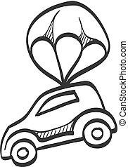 parachute, voiture, croquis, -, icône