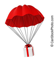 Parachute with a gift box. 3d illustration on white ...