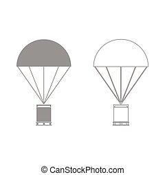 Parachute with cargo  set  icon .