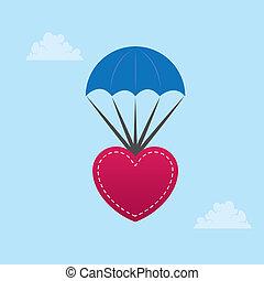 Parachuting Heart  - Heart parachuting down from the sky