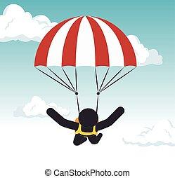 parachuting man extreme sport graphic