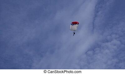 parachutist in the blue sky - parachutist in the sky HD