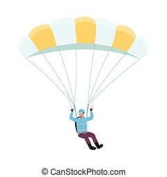 Parachutist man cartoon character jumping flat vector illustration isolated.