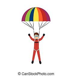 parachutist man cartoon - parachutist man falling with open...
