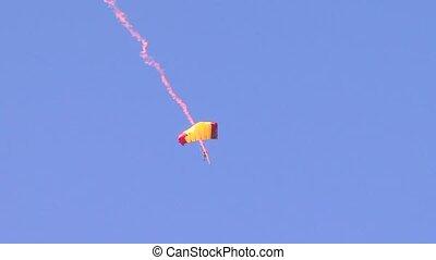 Parachutist - A jumper soars in the air