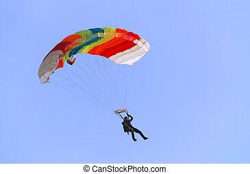 Parachutist turning right