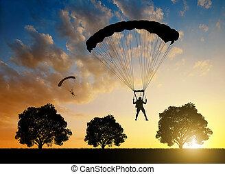 parachutiste, coucher soleil, atterrissage