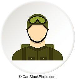 parachutiste, militaire, cercle, icône