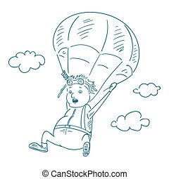 parachutists sketch style, vector illustration.