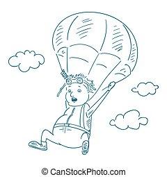 parachutists sketch style, vector illustration.