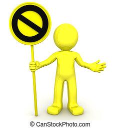 parada, 3d, personagem, sinal amarelo