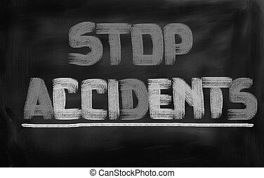 parada, accidentes, concepto