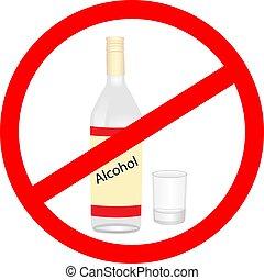 parada, alcohol, advertencia, vector, pictogram