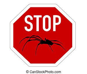 parada, arañas, señal