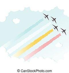 parada, avião, backgroundjoy, paz, colorido, desenho, céu, vetorial, ilustração