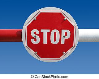 parada, barrier., rojo, señal