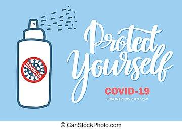 parada, coronavirus, esparcimiento, botella, mano, sanitizer...