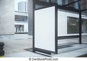 parada de autobús, con, vacío, cartel
