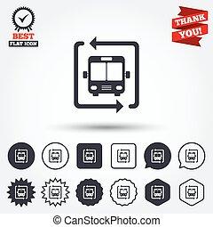 parada de autobús, símbolo., lanzadera, icon., transporte ...