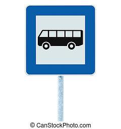 parada de autobús, señal, en, poste, poste, tráfico, camino,...