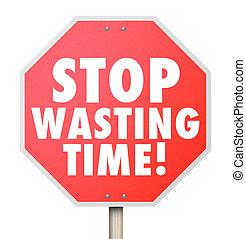 parada, desperdiçando tempo, gerência, ineficiente, uso, de, horas, minutos, da