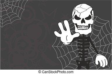 parada, dia das bruxas, esqueleto, fundo, caricatura
