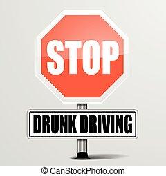 parada, dirigindo, bêbado