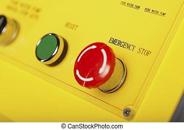 parada, e, reset, botão